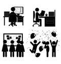 Set of flat office internal communications icons isolated on whi white background Stock Photography