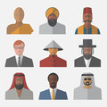 Set of flat people icons. Different nationalities.