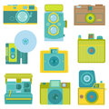 Title: Set of Flat Photo Cameras