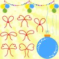 Set of flat red bows and ropes to Christmas decorations. Garland and blue Christmas ball on a yellow background