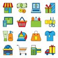 Set of flat shopping icons commercial purchase store buy gift delivery bag commerce basket tag vector illustration. Royalty Free Stock Photo