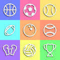 Set of flat sports icons vector illustration Royalty Free Stock Images