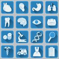 A set of flat square icons on medical subjects. Blue and gray color trendy design.