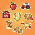 Set flat stickers farm house and tractor, farming windmill, hat, horseshoe, rural wheelbarrow, apple and pie. Outline