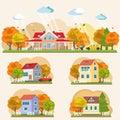 Set of flat style autumn landscapes vector illustration Royalty Free Stock Photo