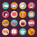 Set of flat style shopping icons Stock Photography