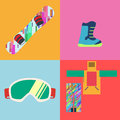 Set of Flat Style Snowboard Icons Vector