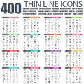 Set of flat thin line business web icons
