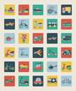 Set of flat transport icons cartoon vector illustration Royalty Free Stock Photography