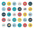 Set of flat transport icons cartoon vector illustration Stock Photography