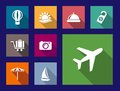 Set of flat travel and vacation icons on colorful web buttons Stock Photo