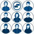 Set of flat vector avatars of men and women with headset