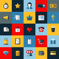 Set of flat vector online shopping icons and e commerce themed for websites and mobile phone services and apps Stock Images