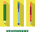 Set of flat vector stationary illustrations Royalty Free Stock Photo