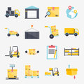 Set of flat warehouse icons logistic blank and transportation, s Royalty Free Stock Photo