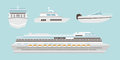 Set of flat yacht, boat and cruise ship with blue sea background concept.