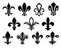 stock image of  Set of Fleurs-de-lis icons.