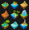 Set of floating platforms with different landscapes. Volcano with lava, desert with cacti, waterfall, island with