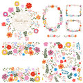 Set of floral backgrounds. Spring and summer flowers. Vector. Royalty Free Stock Photo