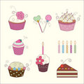 Set of floral cake and candy Stock Image