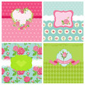 Set of floral card shabby chic theme for design and scrapbook in Stock Images