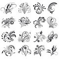 Set of floral design elements Stock Images