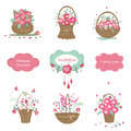 Set of floral design elements Royalty Free Stock Photo