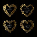 Set of floral frames in the shape heart four gold silhouettes flowers on a black background design elements Stock Image