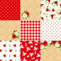 Set of floral and geometric backgrounds. Vector illustration. Royalty Free Stock Photo