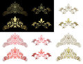 Set of floral golden and red design elements - eps Royalty Free Stock Photography