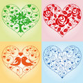 Set of floral hearts Stock Photography