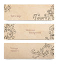 Set of floral ornamental banners Royalty Free Stock Photo