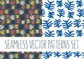 Set of floral patterns with abstract leafs Royalty Free Stock Photo