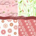 Set of floral patterns collection seamless Stock Image
