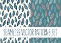 Set of floral patterns with leafs Royalty Free Stock Photo