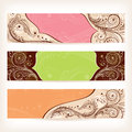 Set of floral retro banners vector illustration Stock Photo