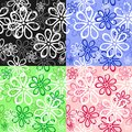Set of floral seamless backgrounds Stock Image
