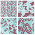 Set of floral seamless patterns Stock Image
