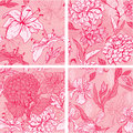 Set of 4 Floral Seamless Patterns in pink colors Royalty Free Stock Photo