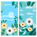 Set of floral spring leaves and flowers vertical backgrounds social media stories templates, color vibrant banners