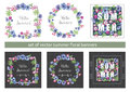 Set of Floral Summer Greeting Cards Design