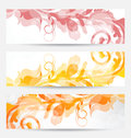 Set floral templates with changing autumnal colors Stock Photography