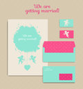 Set of floral vintage wedding cards, invitations. Invitation, en