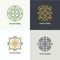 Set of flourish abstract design emblems.