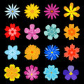 Set of flower blossoms Stock Images