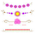 Set of flower design elements, illustration vector,line head,flower card Royalty Free Stock Photo