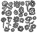 Set of flower doodles background and texture Royalty Free Stock Image