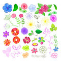 Set of Flower Elements Royalty Free Stock Photo