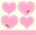 Set of Flower Frame Heart Shape Card