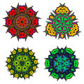 Set of flower mandalas/Abstract round ornament/Vector mandala set/Mandala design Royalty Free Stock Photo